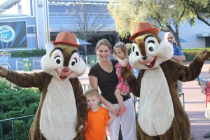 Mindy and kids with Chip and Dale